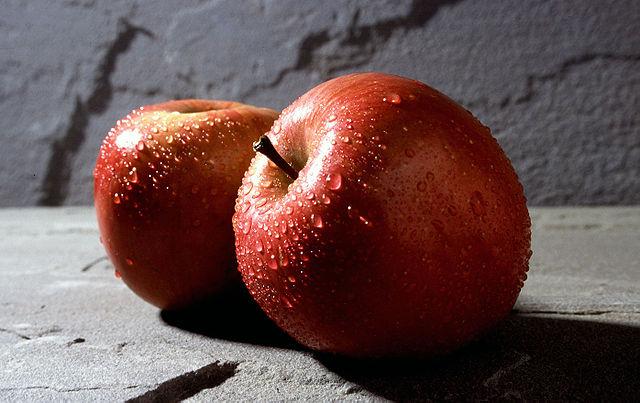Freshly washed Fuji apples