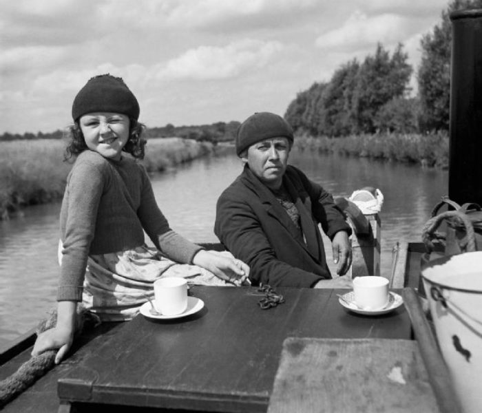 Tea on the Grand Union Canal, Britain, 1944