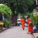 Monks walking down a street