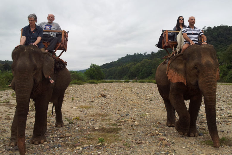 Riding elephants in Laos
