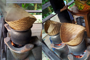 Traditional sticky rice cooking