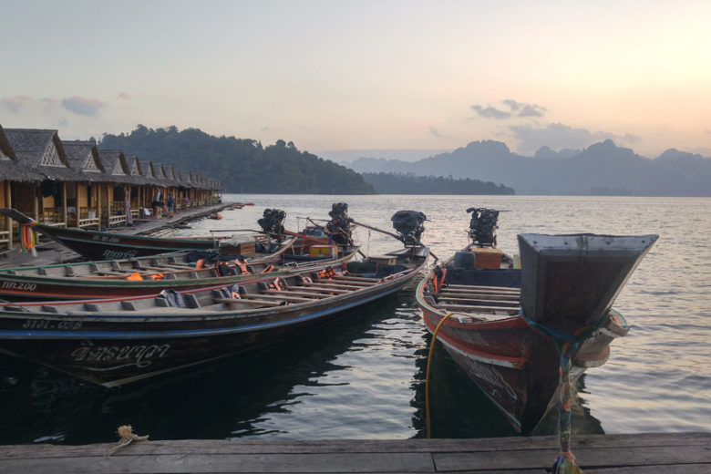 Longtailed boats on Cheow Lan Lake, Thailand