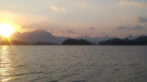 Dawn on Cheow Lan Lake