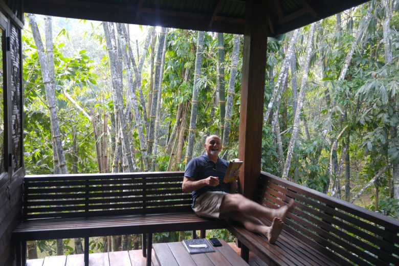 Bill on the veranda at Our Jungle House