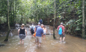 Wading upstream on our hike