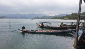 Longtailed boats on Cheow Lan Lake