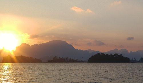 Sunrise at Cheow Lan Lake