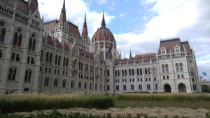 Back side of the Hungarian Parliament.