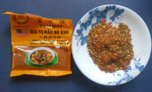 A package of Vietnamese meat spice and Alia's BBQ dry rub ready to use.