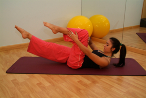 A Pilates mat exercise