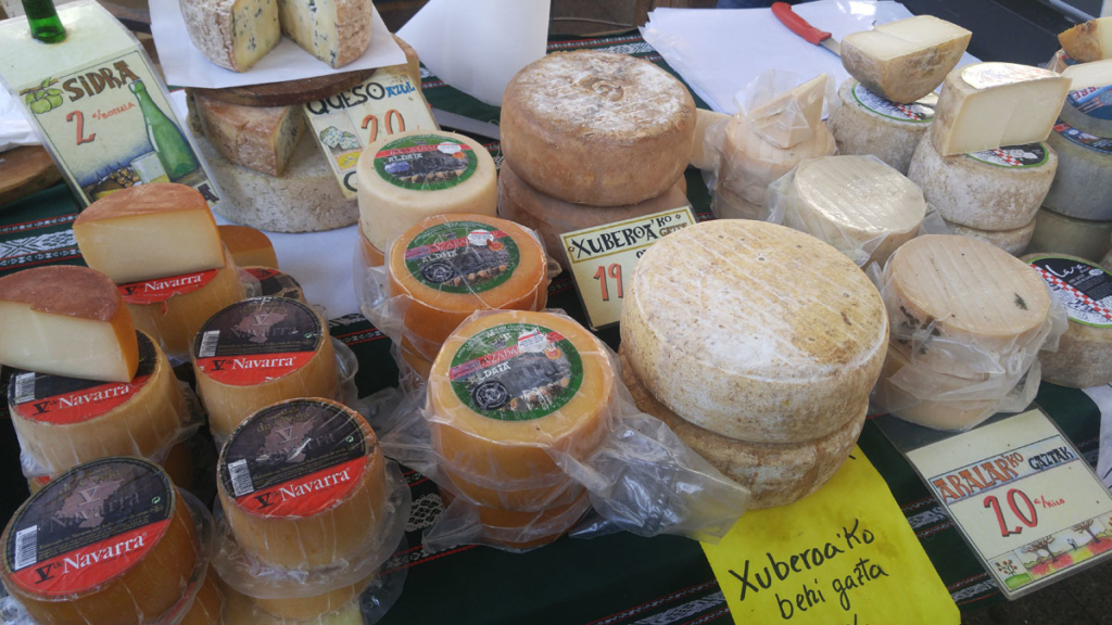 A display of cheese for sale in Orditzia, Spain