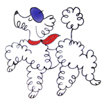 cartoon of snobby poodle in beret