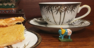 pastry, teacup, ceramic elephant charm
