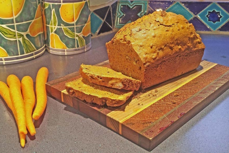 carrot bread on cutting board