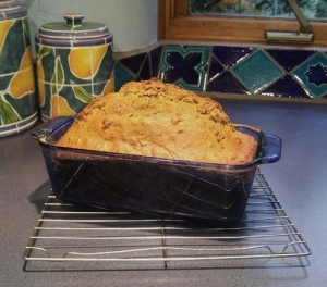 Carrot bread in loaf pan