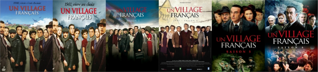 A line-up of DVD covers of A French Village