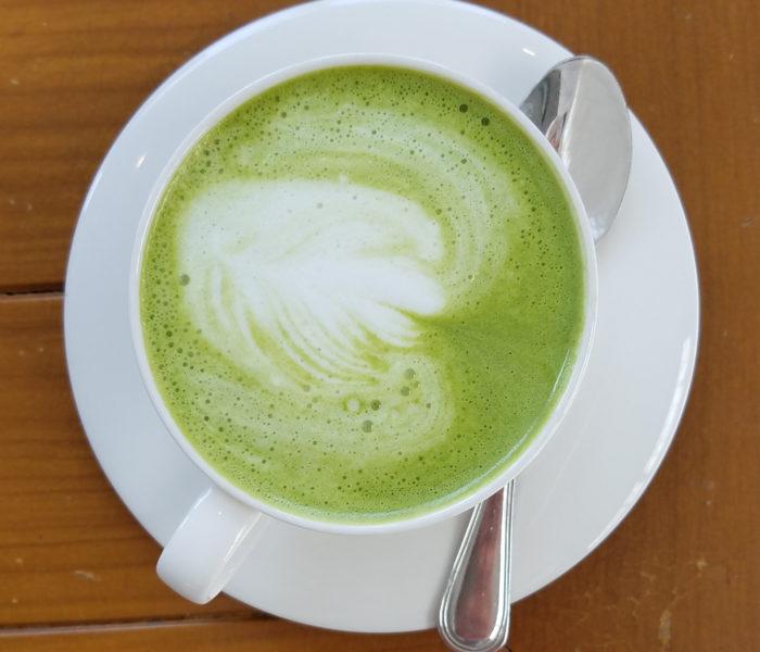 """A """"cappucino"""" made with green tea in Nong Khai, Thailand"""