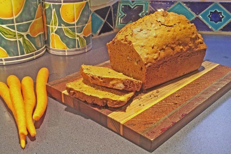 carrot bread on cutting board